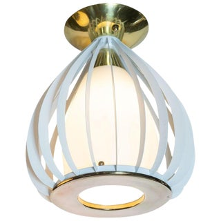Mid-Century Modern White Enamel, Brass and Frosted Glass Lantern Chandelier For Sale