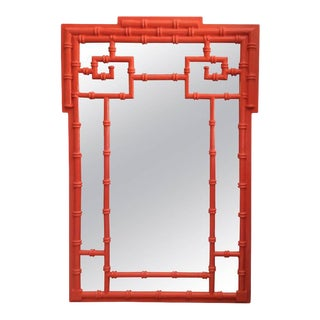 Chinoiserie Greek Key Vintage Newly Lacquered Orange Faux Bamboo Wall Mirror For Sale