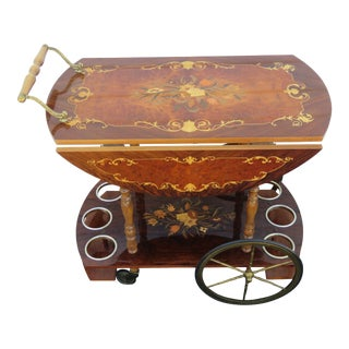 French Inlay Style Drop Leaf Vintage Liquor Bar Tea Cart 1932 For Sale