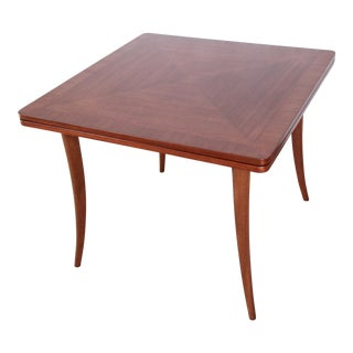 Harvey Probber Mid-Century Modern Mahogany Saber Leg Flip Top Extension Dining or Game Table For Sale