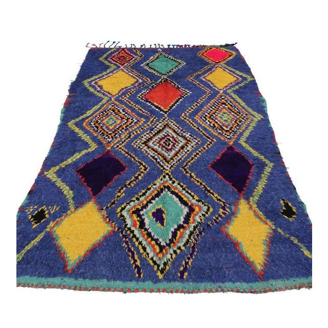 "Berber Tribes of Morocco Vintage Berber Moroccan Tribal Diamond Rug - 4'8"" X 7'3"" For Sale - Image 4 of 9"