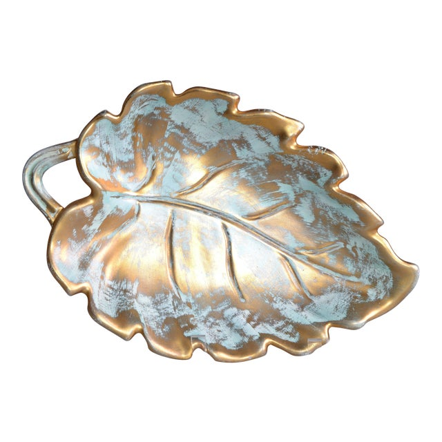 Stangl Gold Leaf Ceramic Catchall Bowl For Sale