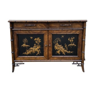 Hollywood Regency Century Furniture Faux Bamboo Credenza For Sale