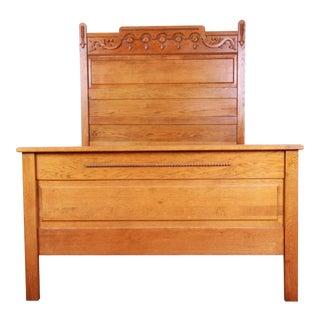 Antique Carved Oak Full Size Bed Frame C. 1900 For Sale