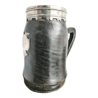 1905 Sterling Silver & Leather Tankard From Ag Vanderbilt Private Pullman Train Car For Sale