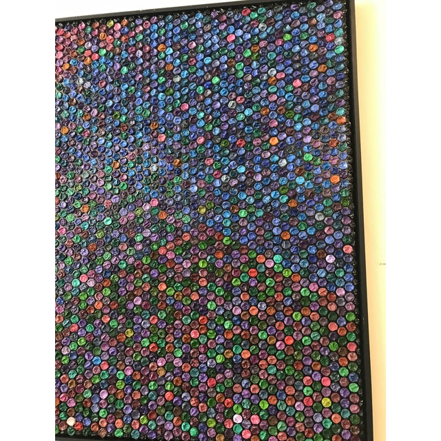 """Mid-Century Modern Contemporary Oil and Bubble Wrap Painting """"Go With the Flow"""" by Garcia Mar For Sale - Image 3 of 5"""