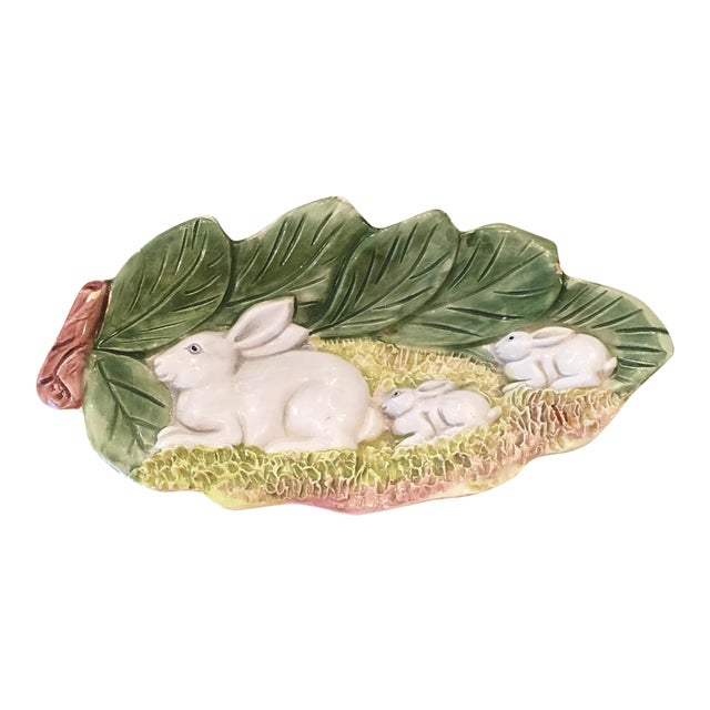Hand Painted Majolica Italian Bunny Dish For Sale