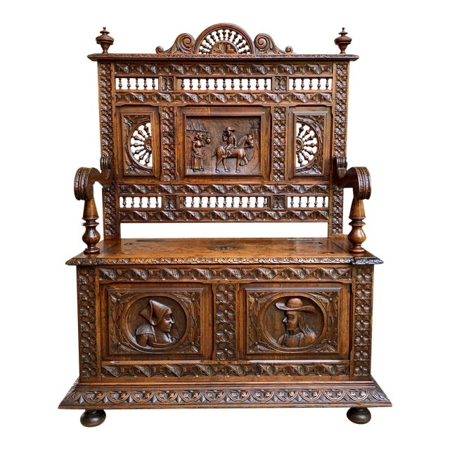 19th Century French Carved Oak Hall Bench Breton Brittany Pew Banquette For Sale