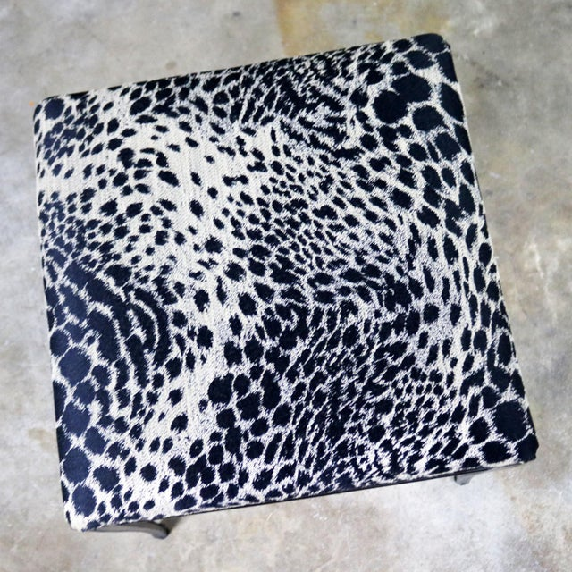 Black Art Deco and Animal Print Bench Ottoman Footstool Cast Aluminum by Crucible For Sale - Image 9 of 11