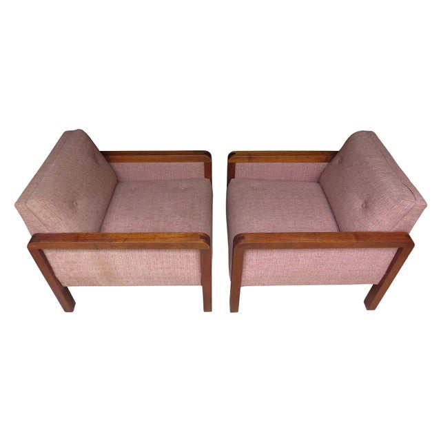 Mid-Century Modern Vintage 1970s W. H. Gunlocke Chair Co. Lounge Armchairs - a Pair For Sale - Image 3 of 13