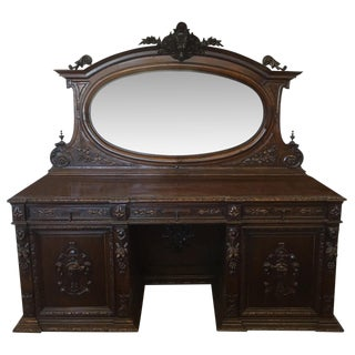 English Carved Oak Sideboard For Sale