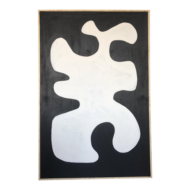 Black & White Oversized Abstract Painting - Image 1 of 9