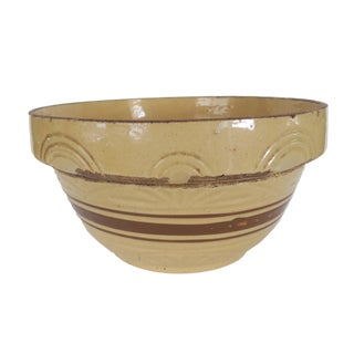 "Antique Large 12"" Yellow and Brown Striped Stoneware Crock Bowl For Sale"