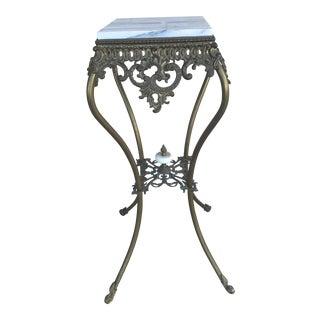 Vintage Marble Top Wrought Iron Pedestal