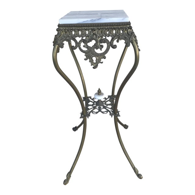 Vintage Marble Top Wrought Iron Pedestal For Sale