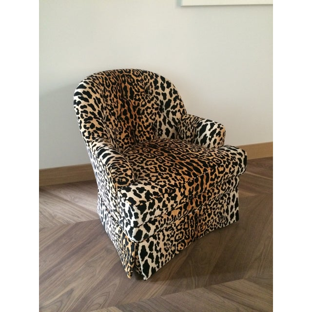 Tufted Leopard Print Velvet Club Chair - Image 6 of 9