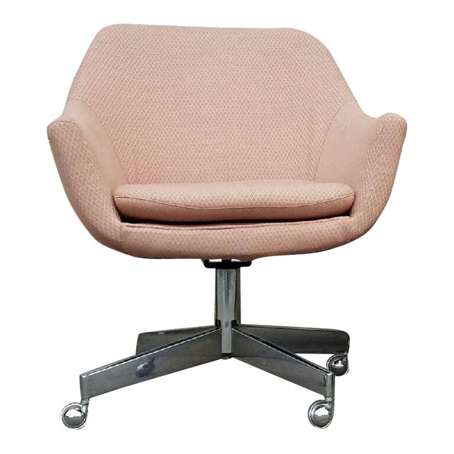 Vintage Mid-Century Pastel Pink Executive Office Chair - Image 1 of 4