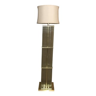 Gaetano Sciolari Brass and Glass Floor Lamp For Sale