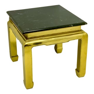 Heavy Casted Brass & Marble Asian Style Table Att. Mastercraft For Sale