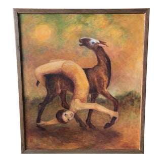 Abstract Deer Woman Dancing Oil Painting For Sale