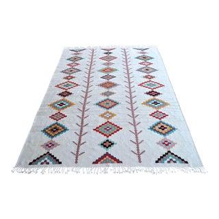 Navajo Style Kilim Rug Hand Woven Flat Weave Rug Silk Area Rug For Sale