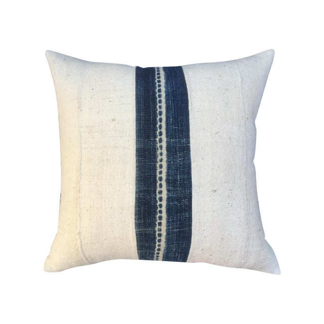 African Mud Cloth Pillow With Indigo - Image 1 of 6