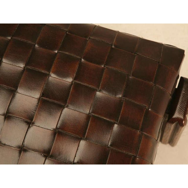 Chic and Unique Vintage French Handwoven Leather Ottoman For Sale In Chicago - Image 6 of 10