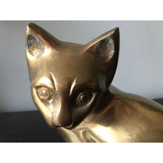 Metal 1970s Vintage Hollow Brass Seated Cat Kitten Figurine For Sale - Image 7 of 8
