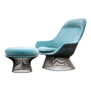 1960s Vintage Warren Platner for Knoll Easy Chair and Ottoman For Sale