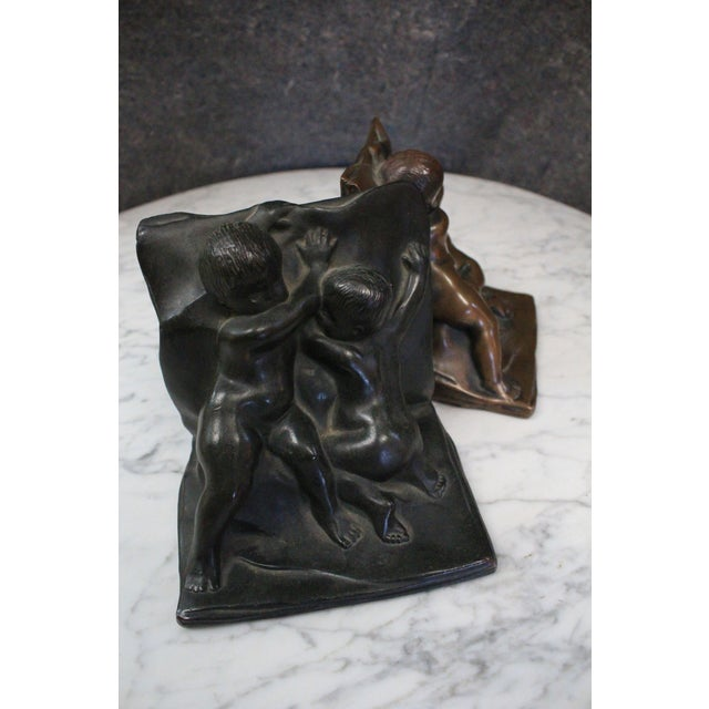 Traditional Bronze Cherub Bookends - a Pair For Sale - Image 3 of 4