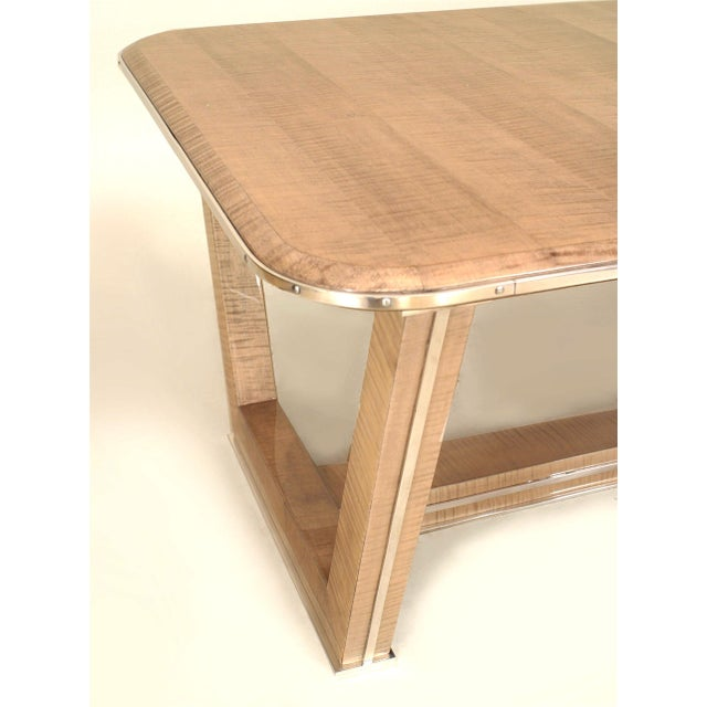 Mid-Century Modern French Brass-Trimmed Makore Coffee Table, Manner of Maxime Old For Sale - Image 3 of 4