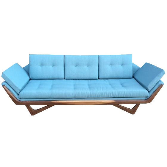 Mid-Century Sculptural Sofa in Powder Blue - Image 1 of 6