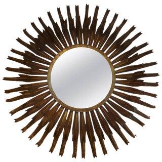 1960's Vintage French Gilt Metal Sunburst Mirror For Sale