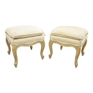 Interior Crafts French Country Louis XV Style Upholstered Ottomans Stools - a Pair