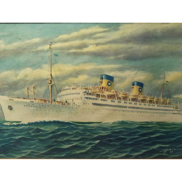 Vintage Print of Atlantic Cruiseliner - Image 3 of 7