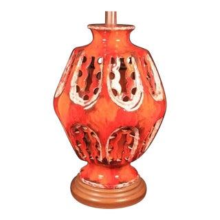 Wow Mid Century Modern Fiery Red Orange Lava Drip Glaze Pottery Lamp Eames Era