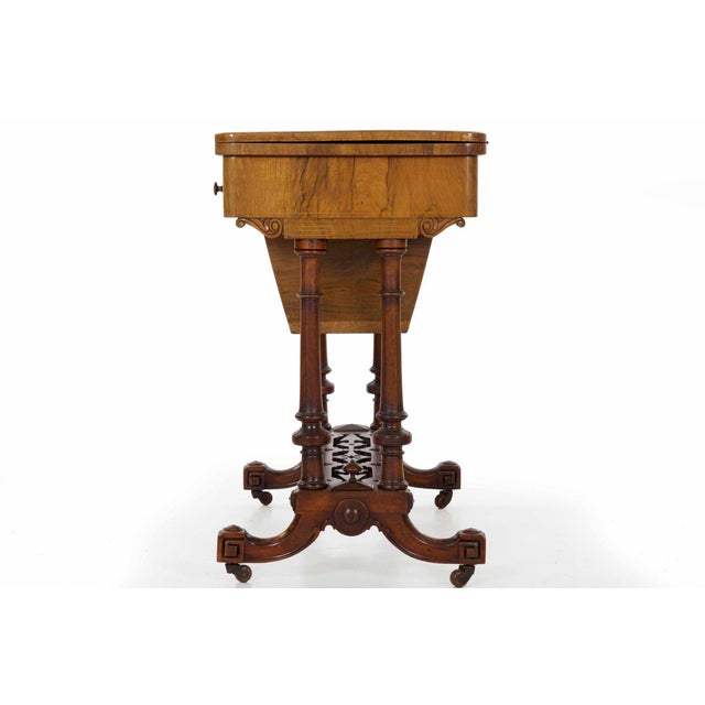 Brown Early Victorian Figured Walnut Antique Games and Work Table, Circa 1860-80 For Sale - Image 8 of 13