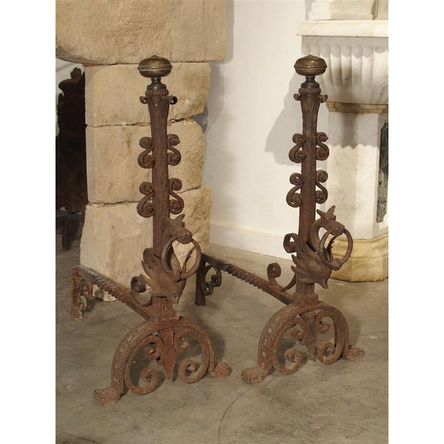 These fabulous and highly detailed, hand forged iron and bronze andirons come from northern Belgium. They feature...