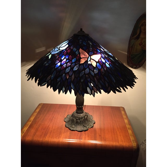 Artist Signed Butterfly Lotus Stained Glass Lamp - Image 3 of 11