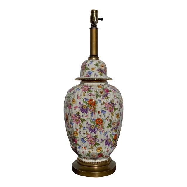 Vintage Floral Chintz Ceramic Lamp For Sale