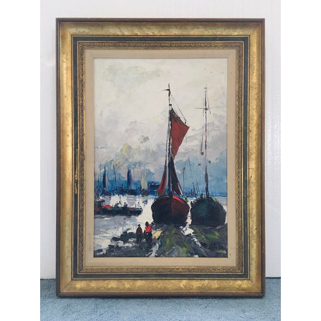 Mid Century Impressionist Oil on Canvas Harbor Scene For Sale - Image 12 of 12