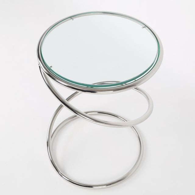1970s 1970's VINTAGE PACE COLLECTION CHROME SPRING SIDE TABLES- A PAIR For Sale - Image 5 of 11