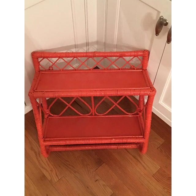 1960's Orange Rattan Wall Shelf Caddy - Image 3 of 5