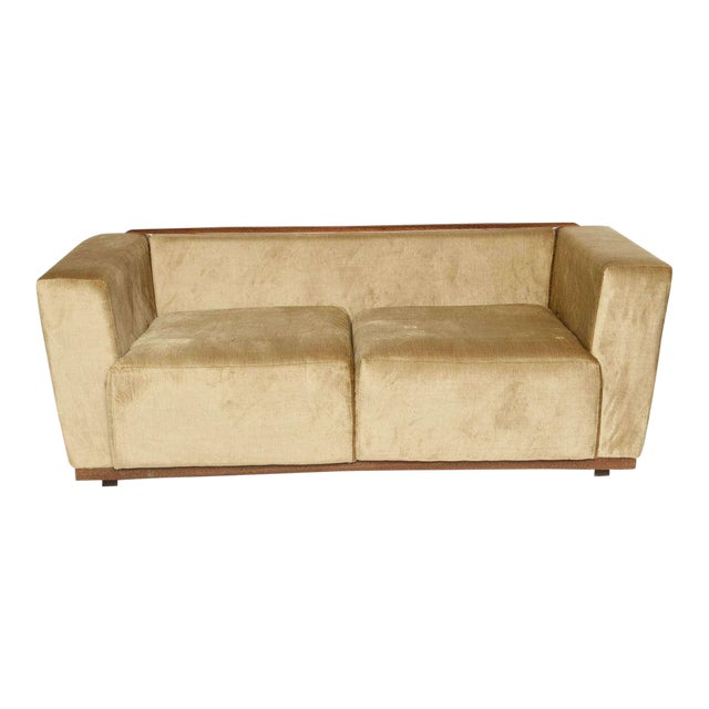 Beautiful Saccaro Velvet Love Seat With Walnut Trim, 21st Century For Sale