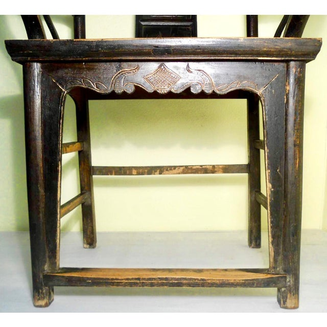 Elm Antique Chinese High Back Arm Chair For Sale - Image 7 of 8