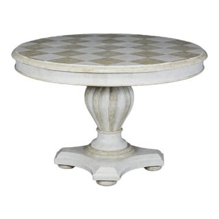 1990s Transitional Round Pedestal Base Tessellated Stone Dining Table For Sale