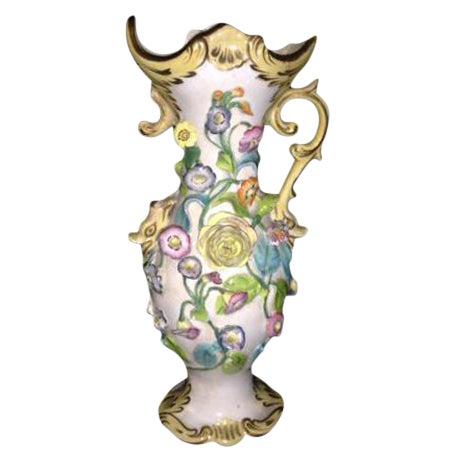 Antique Pastel Floral Porcelain Vase For Sale