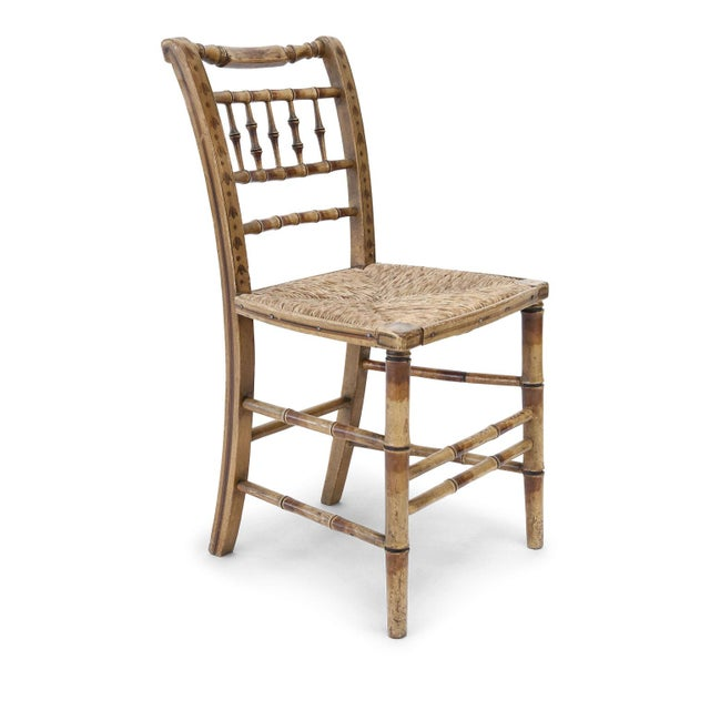 Pair of Faux Bamboo Side Chairs For Sale - Image 4 of 11