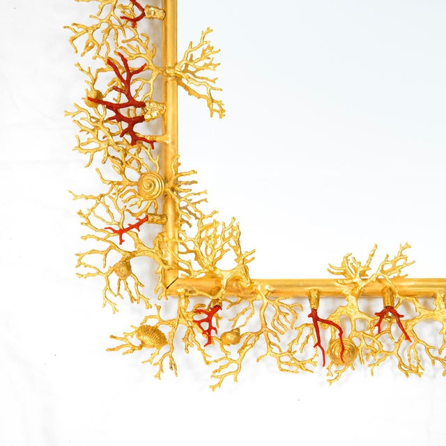 Modern Bronze and Real Coral Mirror , by Robert Goossens, Circa 1970 For Sale - Image 3 of 7