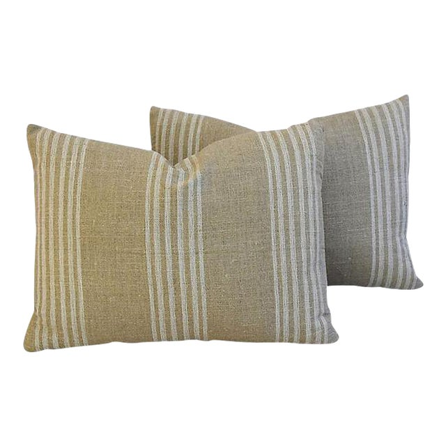 Custom Tan & White French Ticking Feather & Down Pillows - A Pair - Image 1 of 11